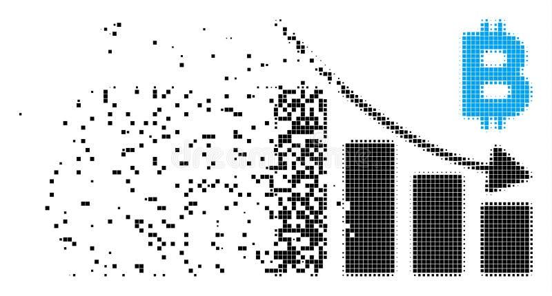 Symbol för PIXEL för diagram för Bitcoin nedgångstång bruten vektor illustrationer