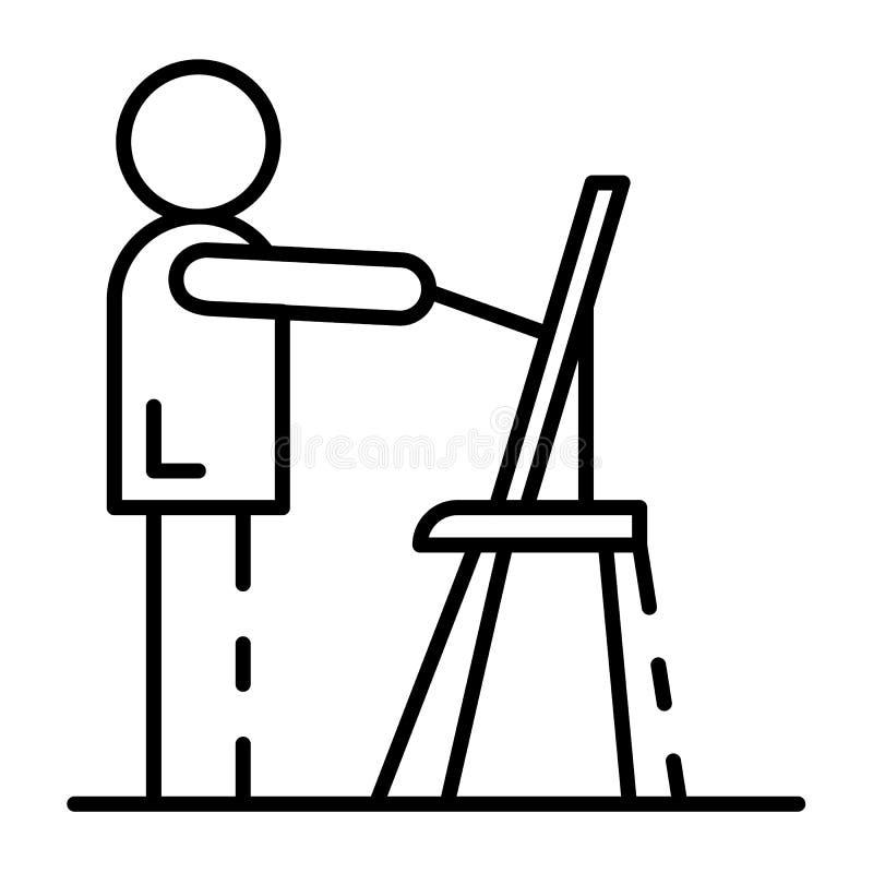 Symbol för plan för manattraktionhus, översiktsstil stock illustrationer