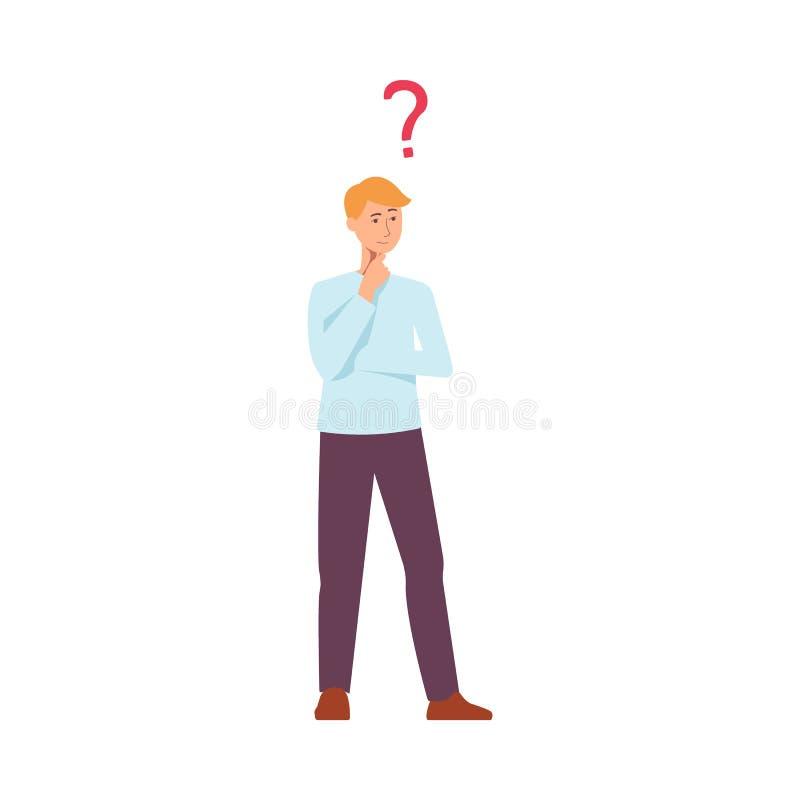 Symbol för plan ung caucasian man för vektor tänkande stock illustrationer