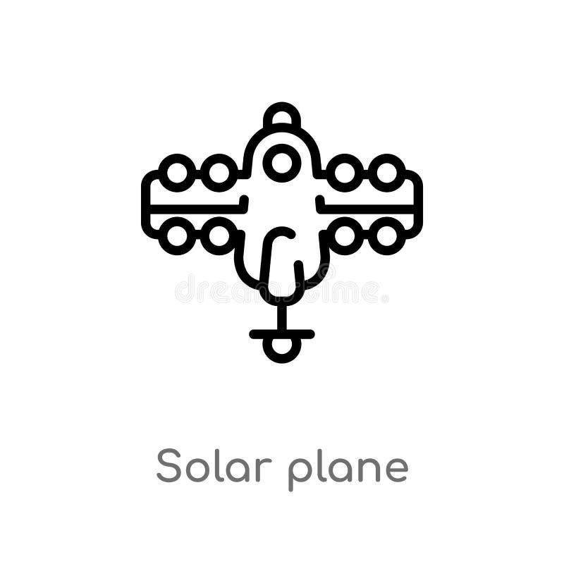 symbol f?r plan vektor f?r ?versikt sol- isolerad svart enkel linje best?ndsdelillustration fr?n teknologibegrepp Redigerbar vekt vektor illustrationer