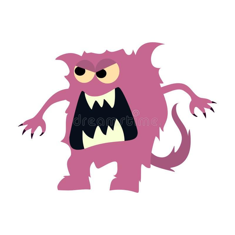 Symbol för plana monster för tecknad film stor Gulligt monster för färgrik ungeleksak vektor royaltyfri illustrationer