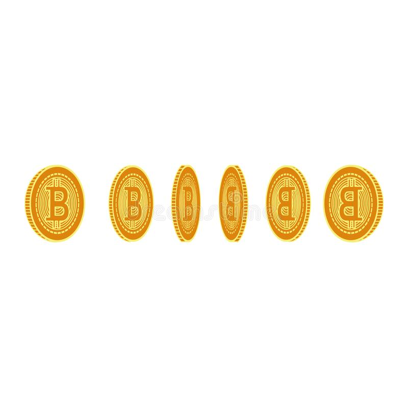 Symbol för plana mynt för bitcoin för vektor fastställd guld- royaltyfri illustrationer