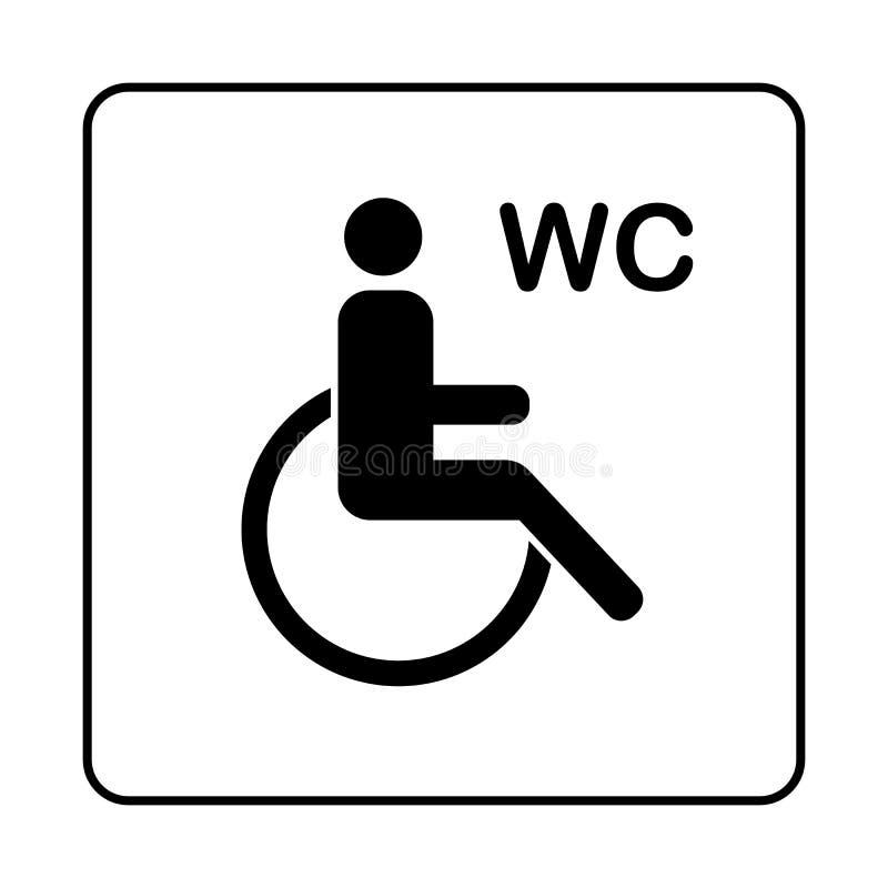 Symbol för platta för WC-toalettdörr Enkel badrumplatta royaltyfri illustrationer