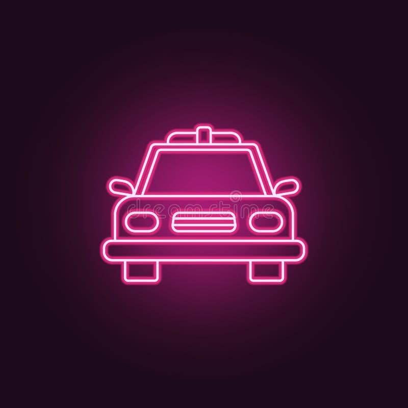 Symbol för polisbil Beståndsdelar av brotts- utredning i neonstilsymboler Enkel symbol för websites, rengöringsdukdesign, mobil a vektor illustrationer