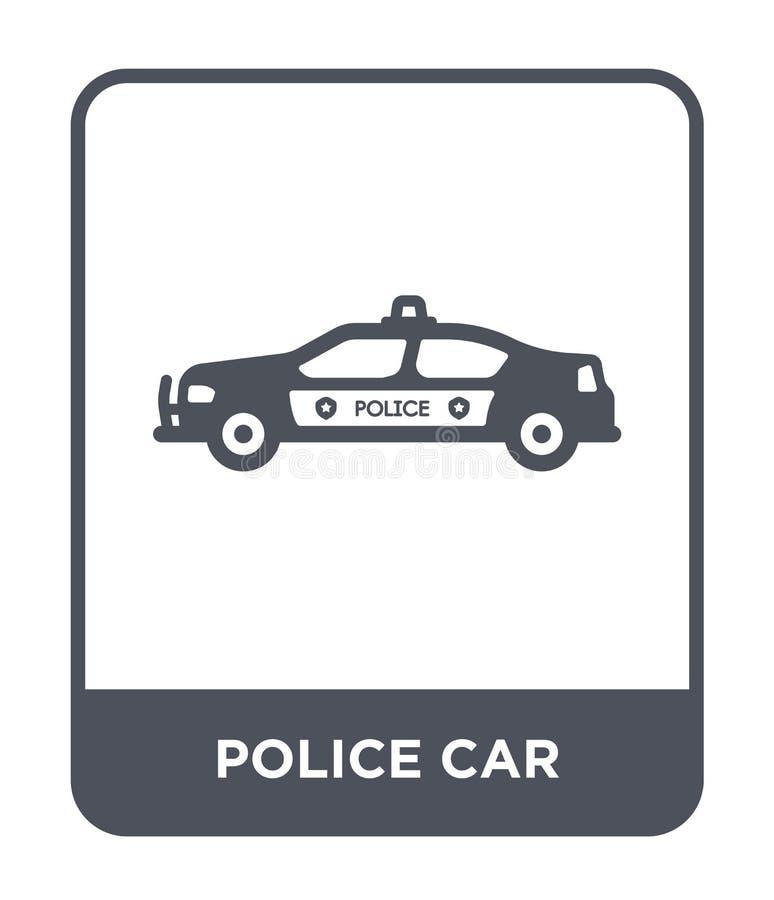 symbol för polisbil i moderiktig designstil Symbol för polisbil som isoleras på vit bakgrund modern symbol för vektor för polisbi vektor illustrationer
