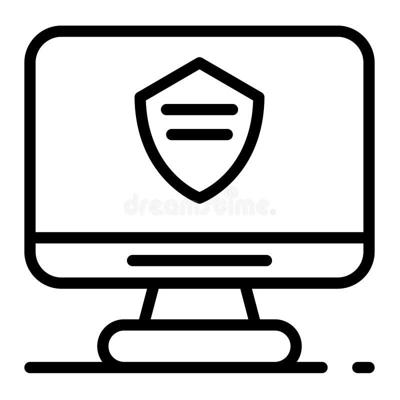 Symbol för polisdatorbildskärm, översiktsstil royaltyfri illustrationer