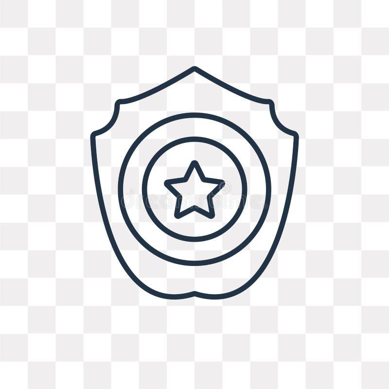 Symbol för polisemblemvektor som isoleras på genomskinlig bakgrund, lin stock illustrationer