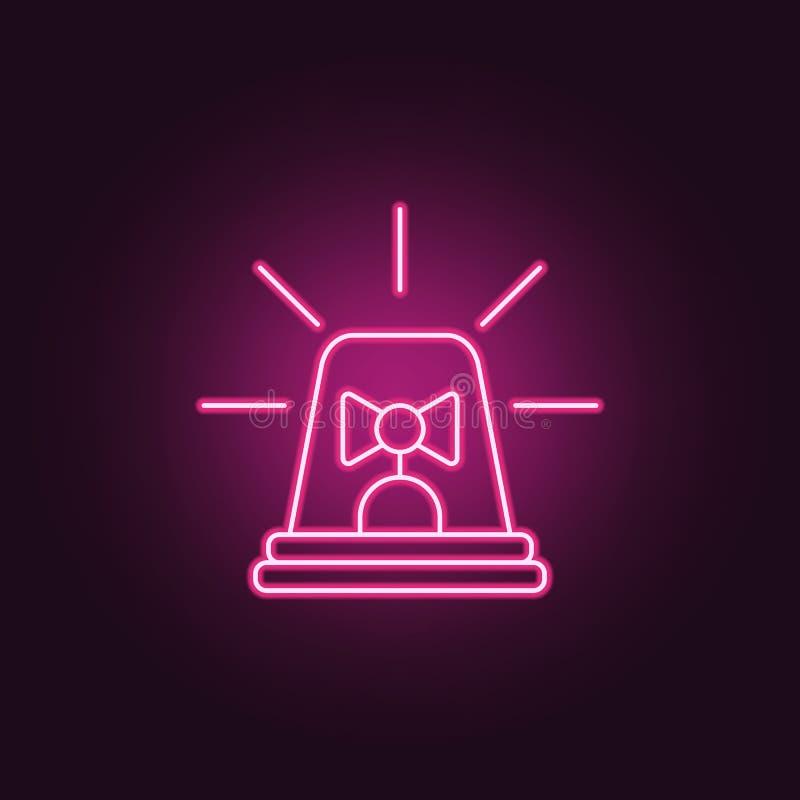symbol för polissiren Beståndsdelar av brotts- utredning i neonstilsymboler Enkel symbol för websites, rengöringsdukdesign, mobil vektor illustrationer