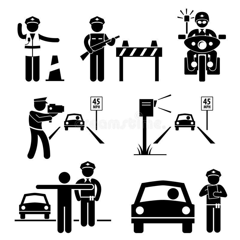 Symbol för polisTraffic tjänstgörande Pictogram stock illustrationer