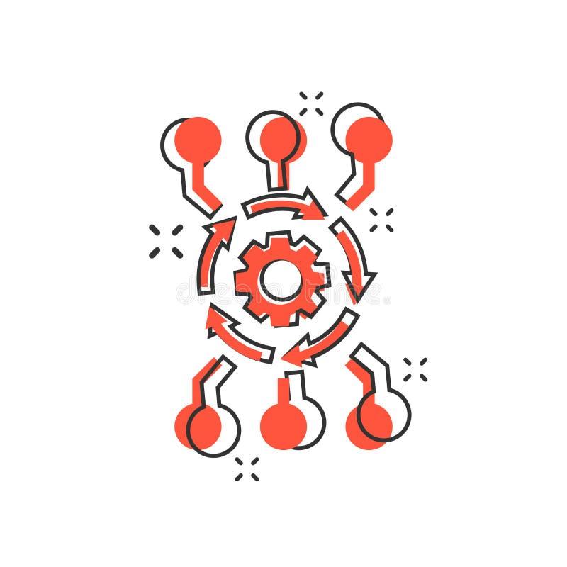 Symbol för programvara för api för vektortecknad filmalgoritm i komisk stil kugghjul vektor illustrationer