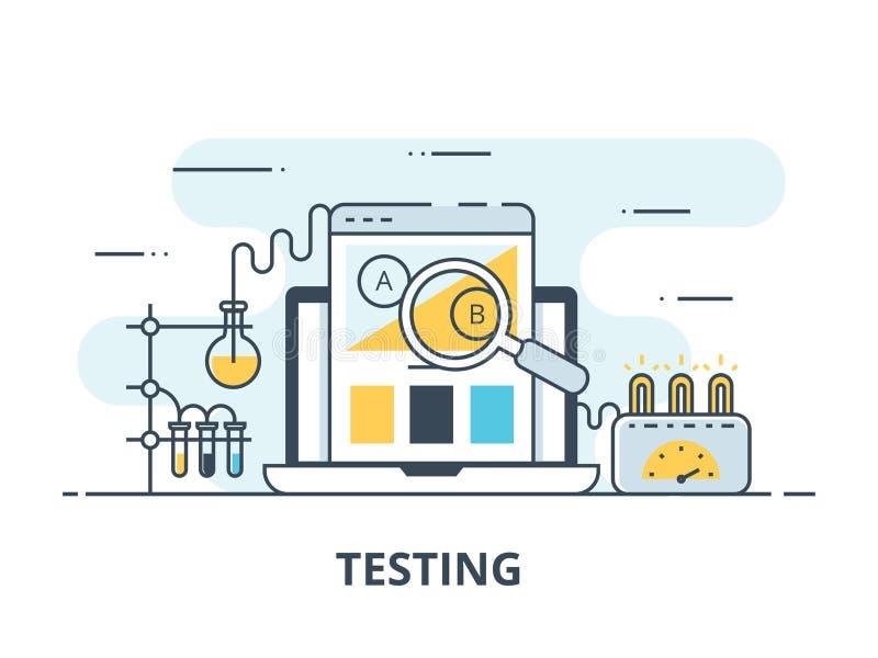 Symbol för programvaruprovningslägenhet Illustration för programvaruprovningsvektor Plan design Testa för programvara som är lyck royaltyfri illustrationer