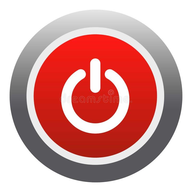 Symbol för röd knapp för makt, lägenhetstil royaltyfri illustrationer