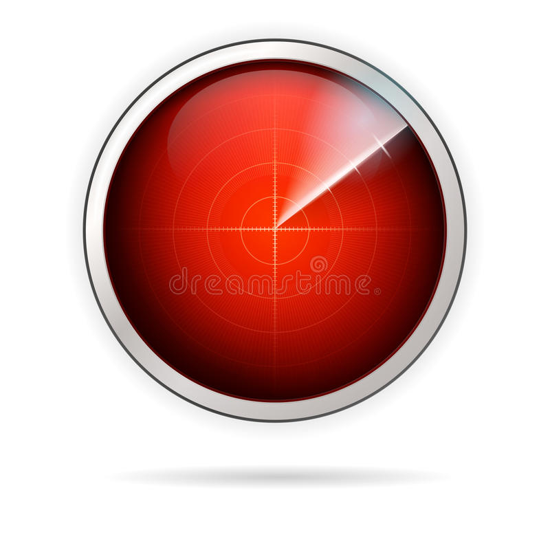Symbol för röd radar royaltyfri illustrationer