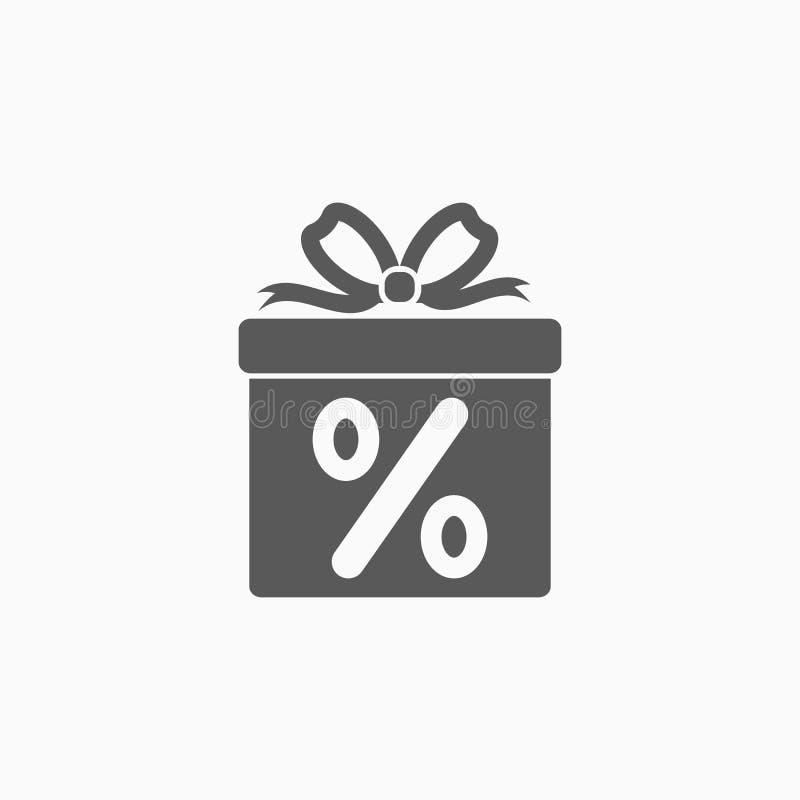 Symbol för rabatt för gåvaask, gåva, band, ask, packe, rabatt stock illustrationer