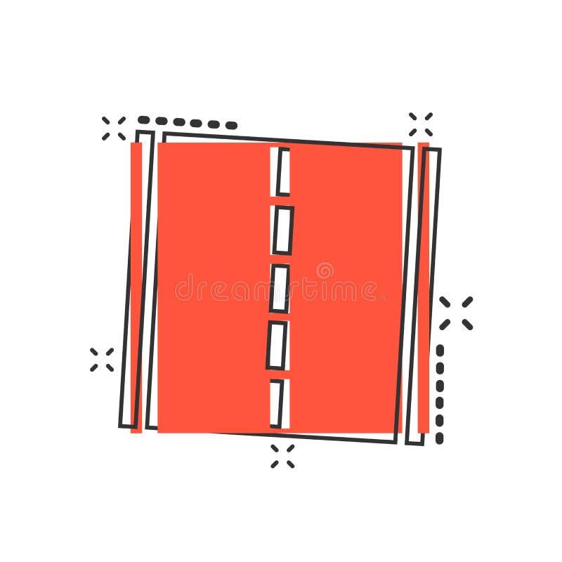 Symbol för rak väg för vektortecknad film i komisk stil Huvudvägväg s royaltyfri illustrationer