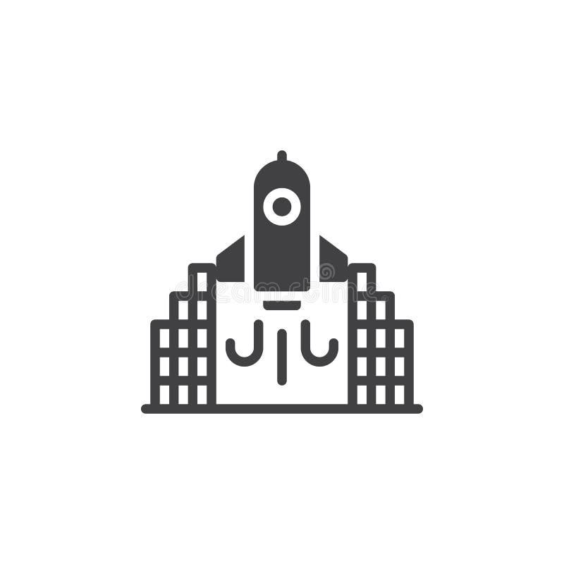 Symbol för raketlanseringsvektor stock illustrationer