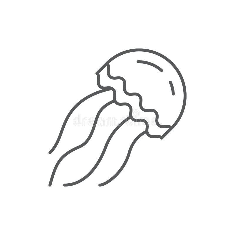 Symbol för redigerbart PIXEL för manet perfekt - undervattens- djur för hav eller för akvarium i linjen konst som isoleras på vit royaltyfri illustrationer