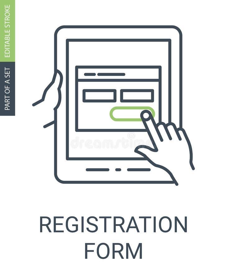 Symbol för registreringsform med översiktsstil och den redigerbara slaglängden stock illustrationer
