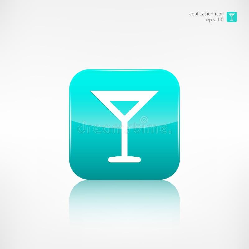 Symbol för rengöringsduk för vinexponeringsglas applikationknapp royaltyfri illustrationer