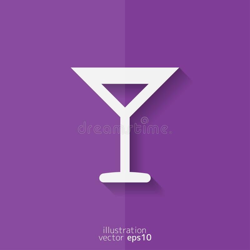 Symbol för rengöringsduk för vinexponeringsglas Plan design royaltyfri illustrationer