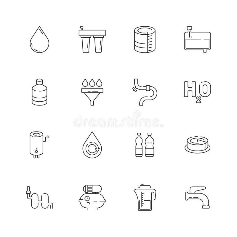 Symbol för rent vatten Tunn linje symboler för ny för drinkutmataremaskin för renhet för förbindelse för eco vektor för trumma stock illustrationer
