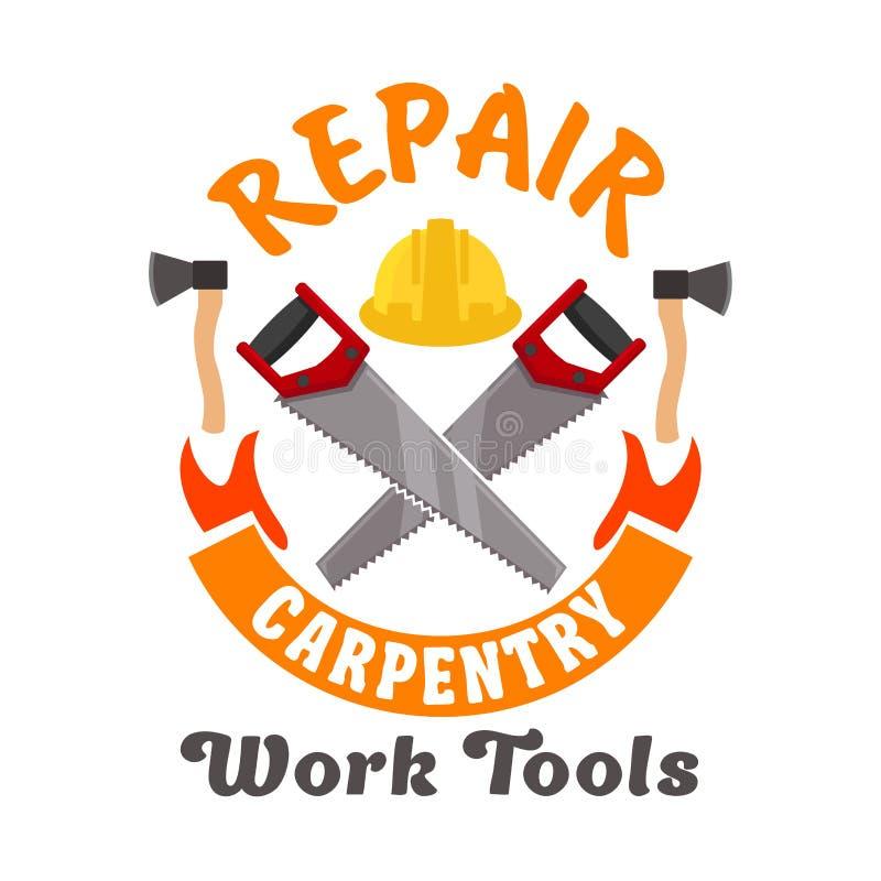 Symbol för reparations- och snickeriarbetshjälpmedel stock illustrationer