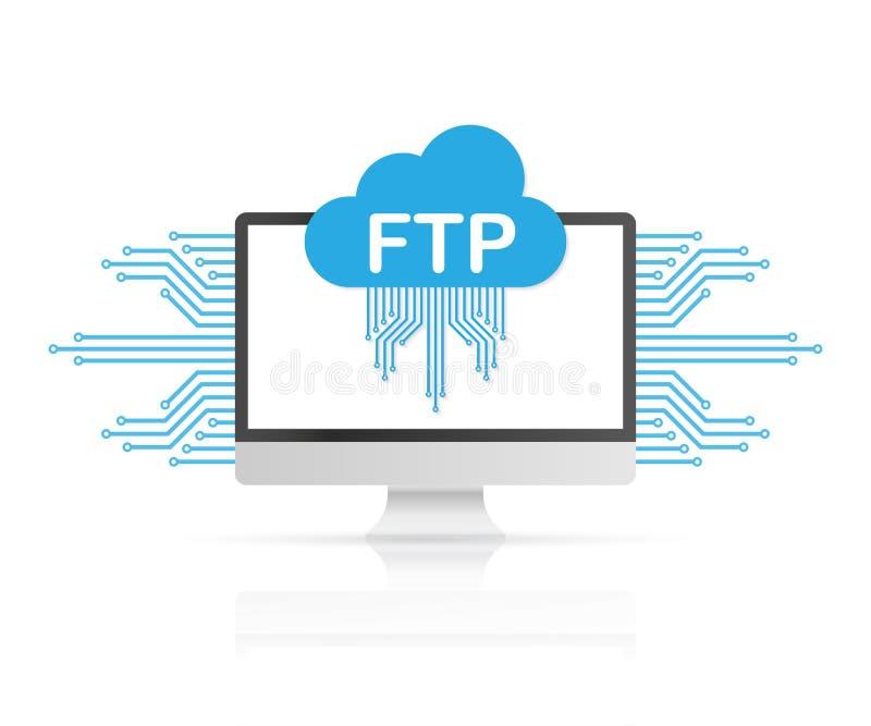 Symbol för RGBFTP-mappöverföring på datoren Ftp-teknologisymbol Överföringsdata till serveren också vektor för coreldrawillustrat stock illustrationer