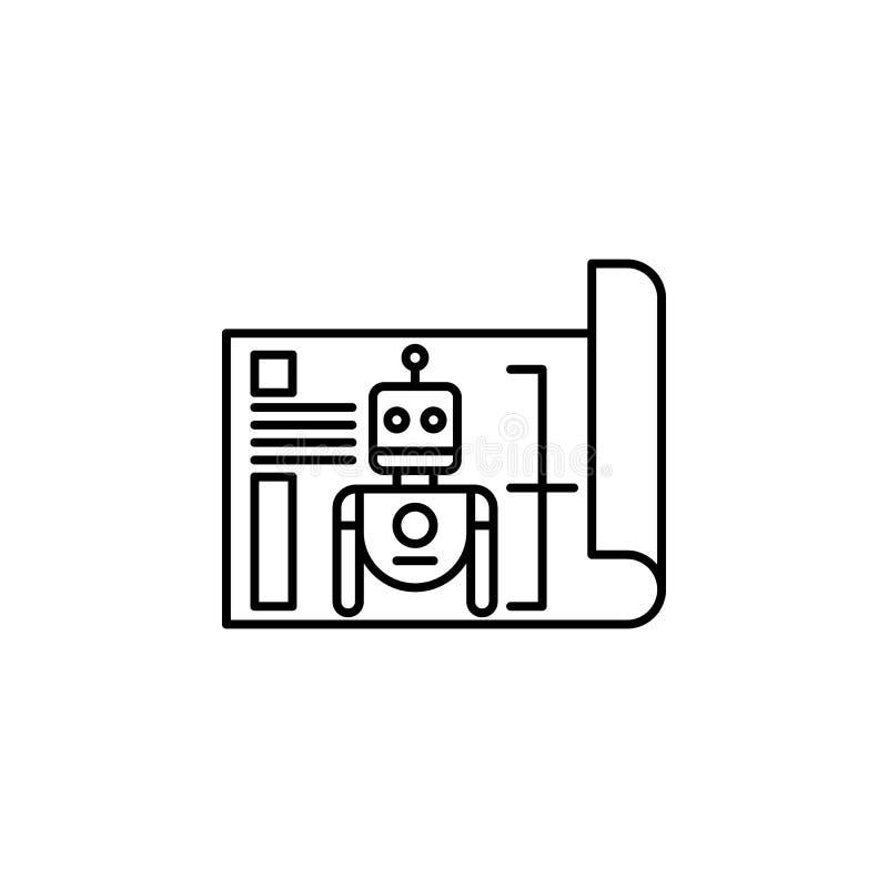 Symbol för robotteknikritningöversikt Tecknet och symboler kan användas för rengöringsduken, logoen, den mobila appen, UI, UX stock illustrationer