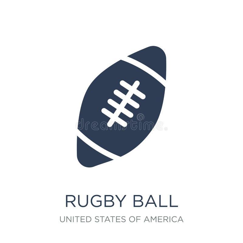 Symbol för rugbyboll Moderiktig plan symbol för vektorrugbyboll på vit bac vektor illustrationer