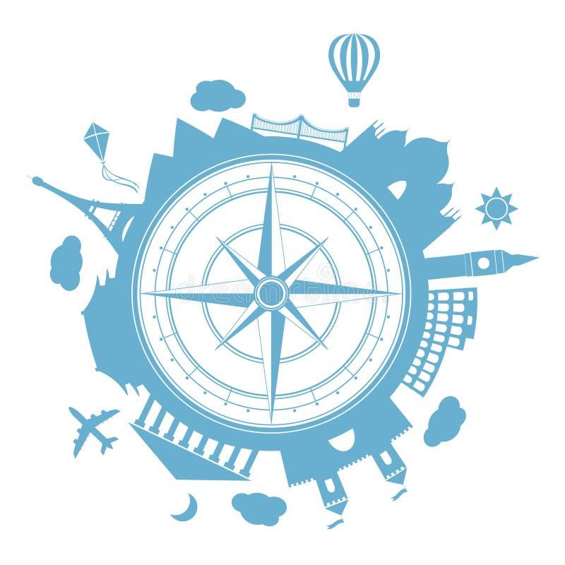 Symbol för runda för vektor för loppbyrå stock illustrationer