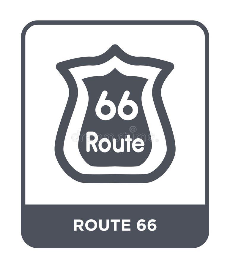 symbol för rutt 66 i moderiktig designstil Route 66 symbol som isoleras på vit bakgrund för vektorsymbol för rutt 66 enkel och mo royaltyfri illustrationer