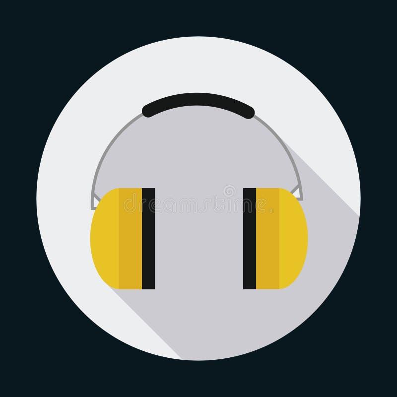 Symbol för säkerhet för industriell säkerhet för Headphone som stylized swirlvektorn för bakgrund det dekorativa diagrammet vågr royaltyfri illustrationer