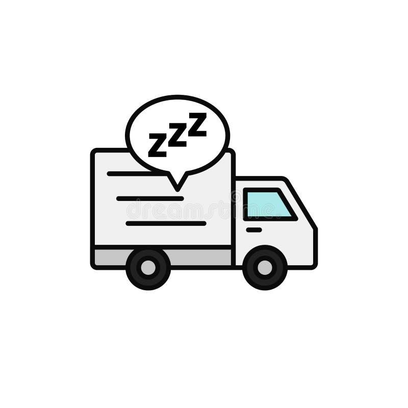 Symbol för sömn för leveranslastbil sändningskuriren tar en avbrottsillustration enkel design för översiktsvektorsymbol royaltyfri illustrationer
