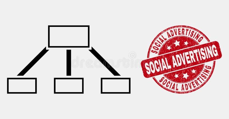 Symbol för sammanlänkningar för vektorslaglängdhierarki och skrapad social annonserande stämpelskyddsremsa stock illustrationer