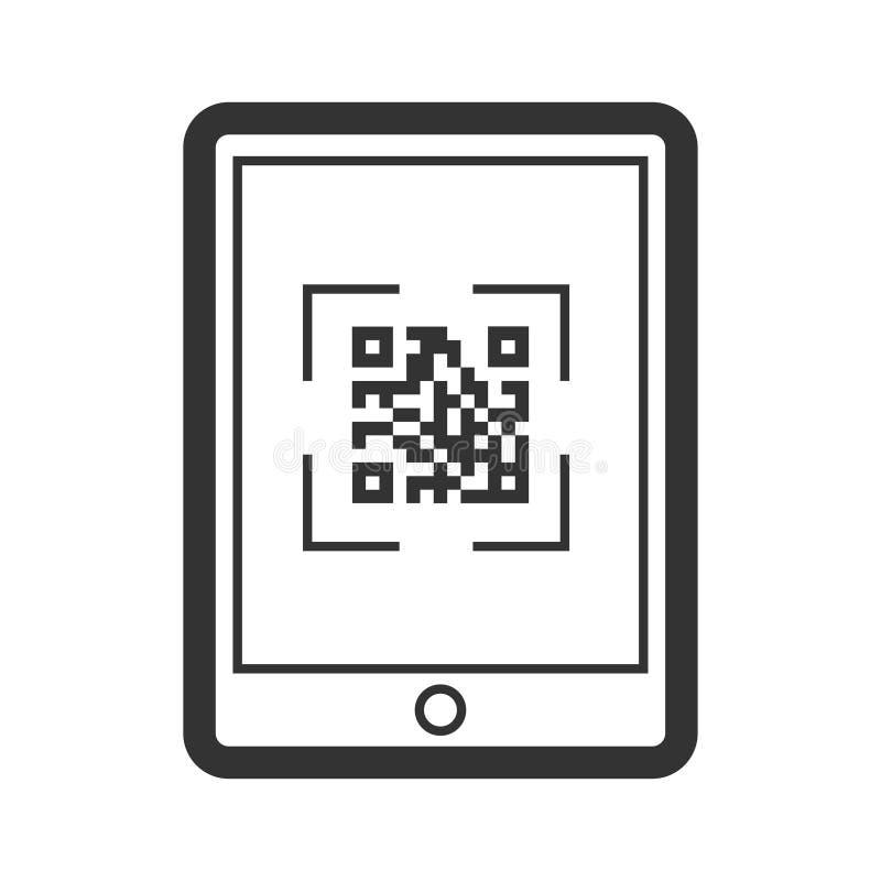 Symbol för Scaning qrkod, telefonaffärsapplikation stock illustrationer