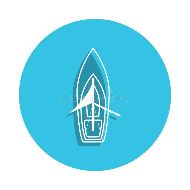 symbol för seglingskepp i emblemstil En av skeppsamlingssymbolen kan användas för UI, UX stock illustrationer