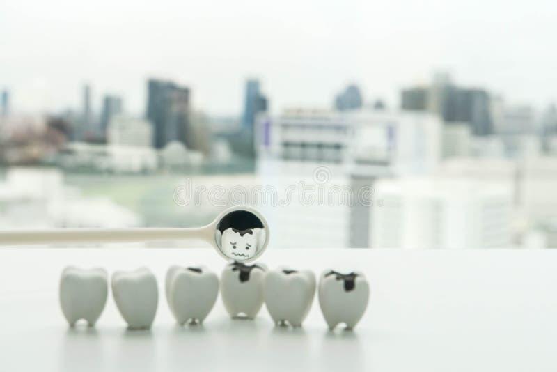 Symbol för selektiv fokus av förfalltanden från den tand- spegeln för mänsklig muntlig hälsa royaltyfria bilder