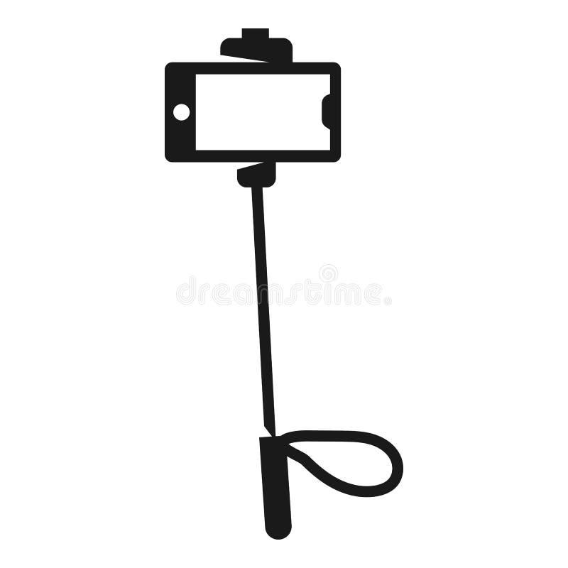 Symbol för Selfie smartphonepinne, enkel stil stock illustrationer
