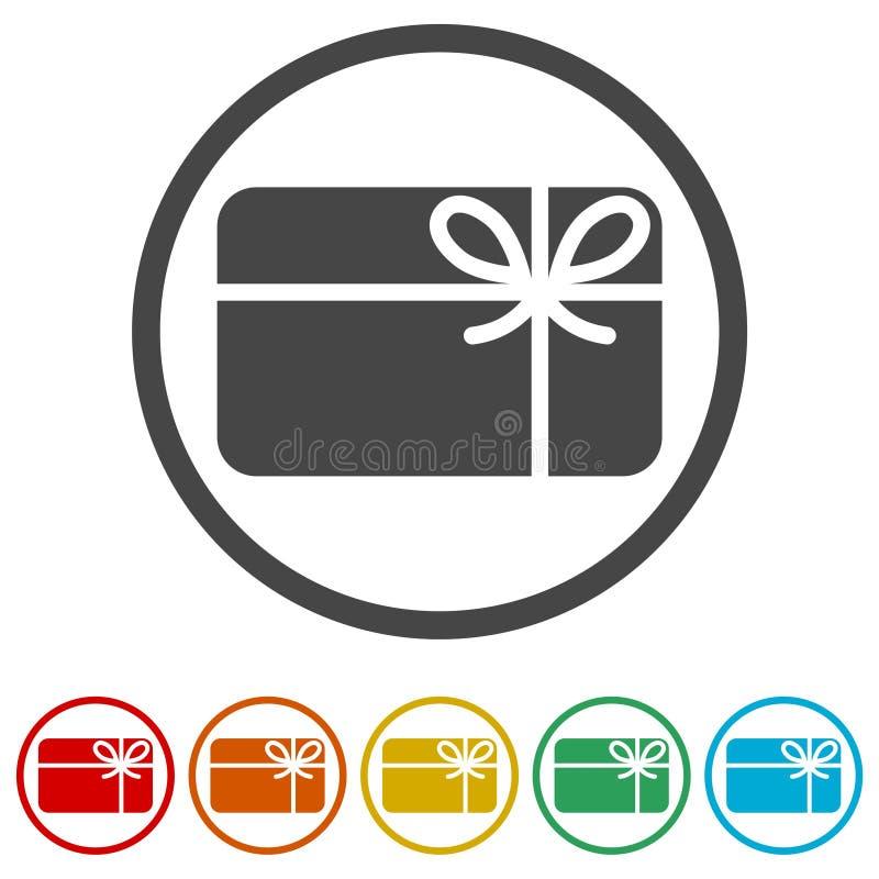 Symbol för shoppinggåvakort, symbol för gåvakort, 6 inklusive färger stock illustrationer