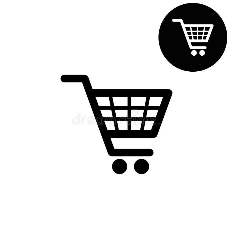 Symbol för shoppingkorg, svartvita symboler för rengöringsdukdesign royaltyfri illustrationer