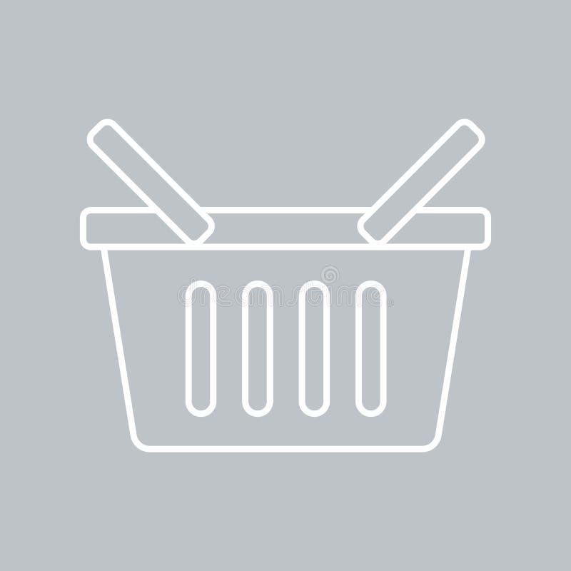 Symbol för shoppingkorgar på grå bakgrund för något tillfälle stock illustrationer