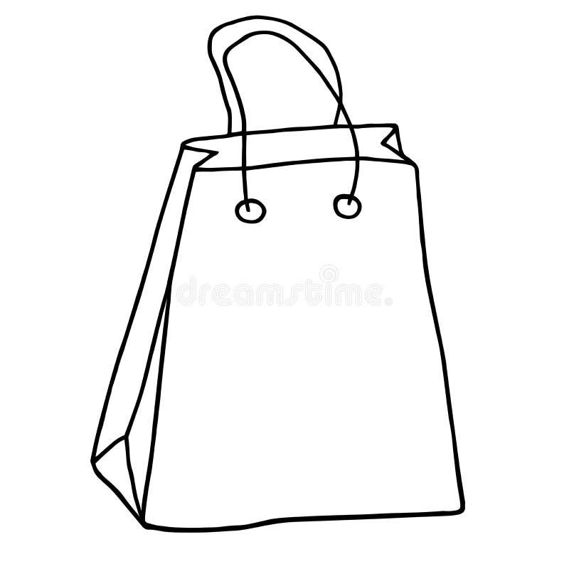 Symbol för shoppingpåse Hand dragen livsmedelsbutikpåse med handtag Vektor mig stock illustrationer