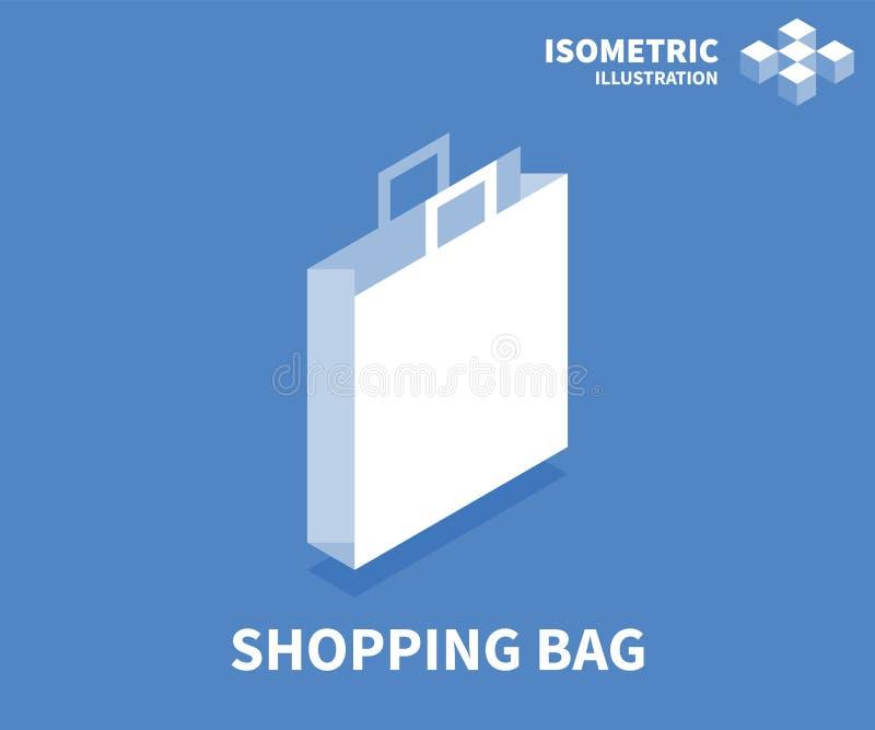Symbol för shoppingpåse Isometrisk mall för rengöringsdukdesign i plan stil 3D också vektor för coreldrawillustration stock illustrationer