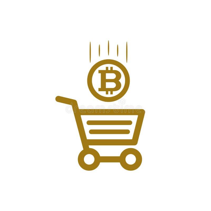 Symbol för shoppingvagn med bitcoin royaltyfri illustrationer
