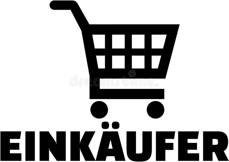 Symbol för shoppingvagn med tysk köparejobbtitel royaltyfri illustrationer