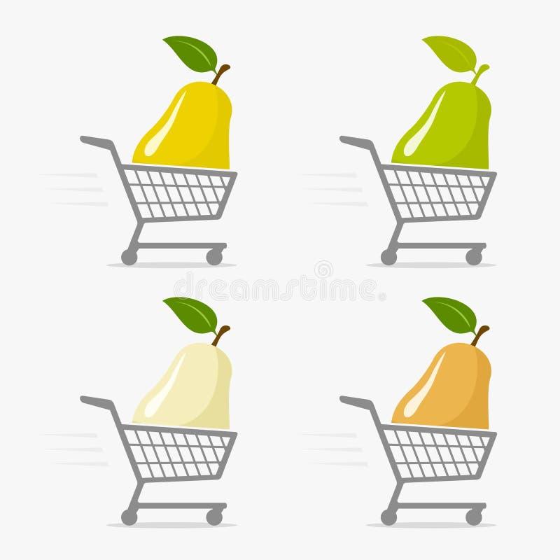 Symbol f?r shoppingvagn och p?ron royaltyfri illustrationer
