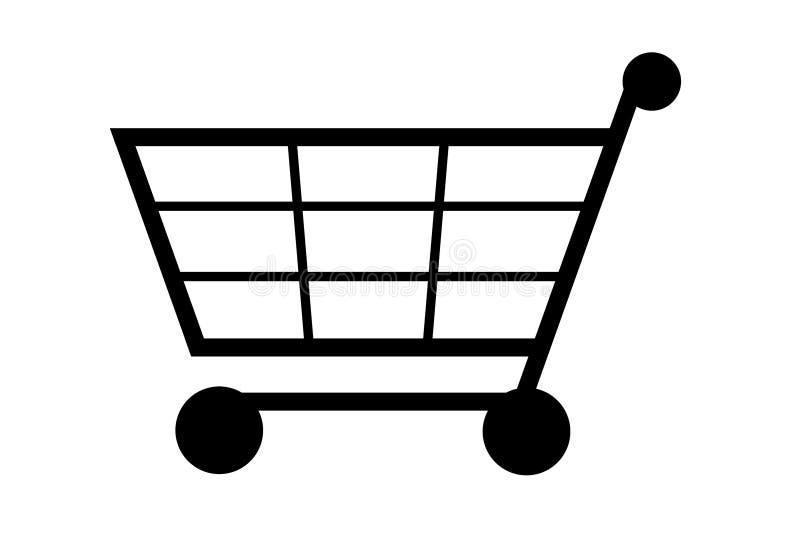 Symbol för shoppingvagn som isoleras på vitt med urklippbanan stock illustrationer
