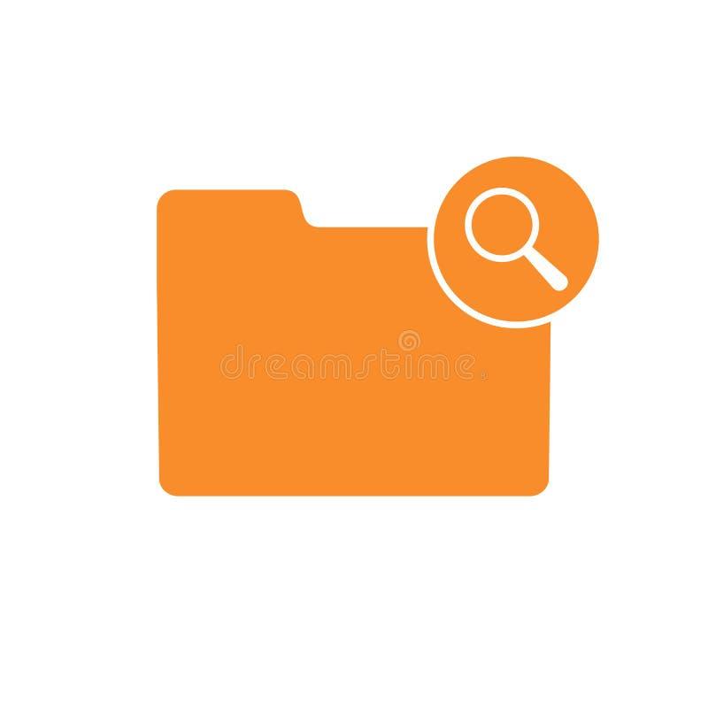 Symbol för sikt för sökande för förstoringsapparat för blick för fyndmapp glass vektor illustrationer