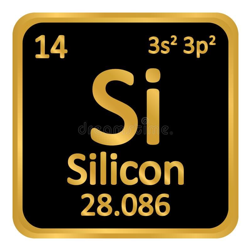 Symbol för silikoner för beståndsdel för periodisk tabell royaltyfri illustrationer
