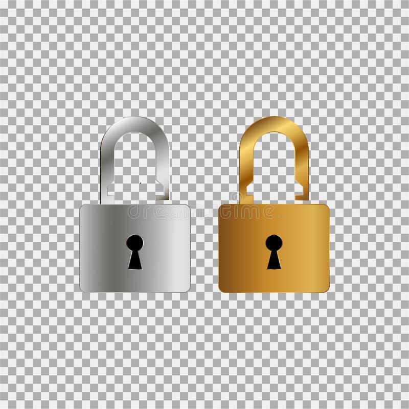 Symbol för silver- och guldlåstangent på en grå bakgrund stock illustrationer